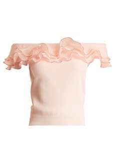 Alexander McQueen Ruffle-trim off-the-shoulder top