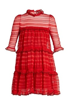 Alexander McQueen Ruffle-trimmed ladder-lace dress