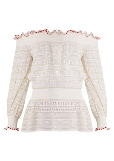 Alexander McQueen Ruffle-trimmed off-the-shoulder ladder-lace top