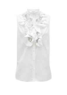 Alexander McQueen Ruffled and lace-bib cotton-poplin top