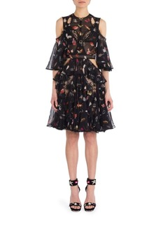 Alexander McQueen Ruffled Cold-Shoulder Dress