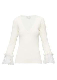 Alexander McQueen Ruffled-cuff ribbed sweater