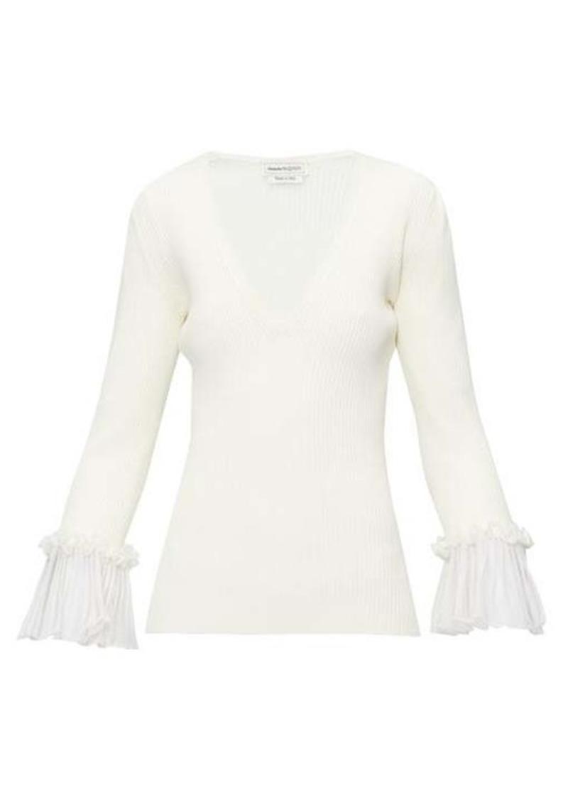Alexander McQueen Ruffled-cuff ribbed-knit sweater