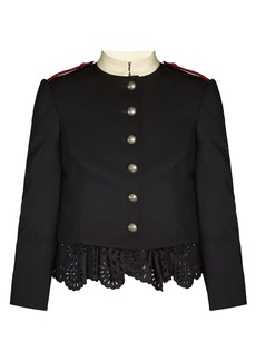 Alexander McQueen Ruffled-hem grain de poudre military jacket