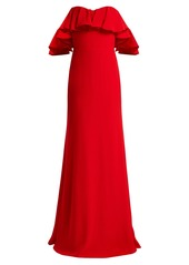 Alexander McQueen Ruffled off-the-shoulder crepe gown