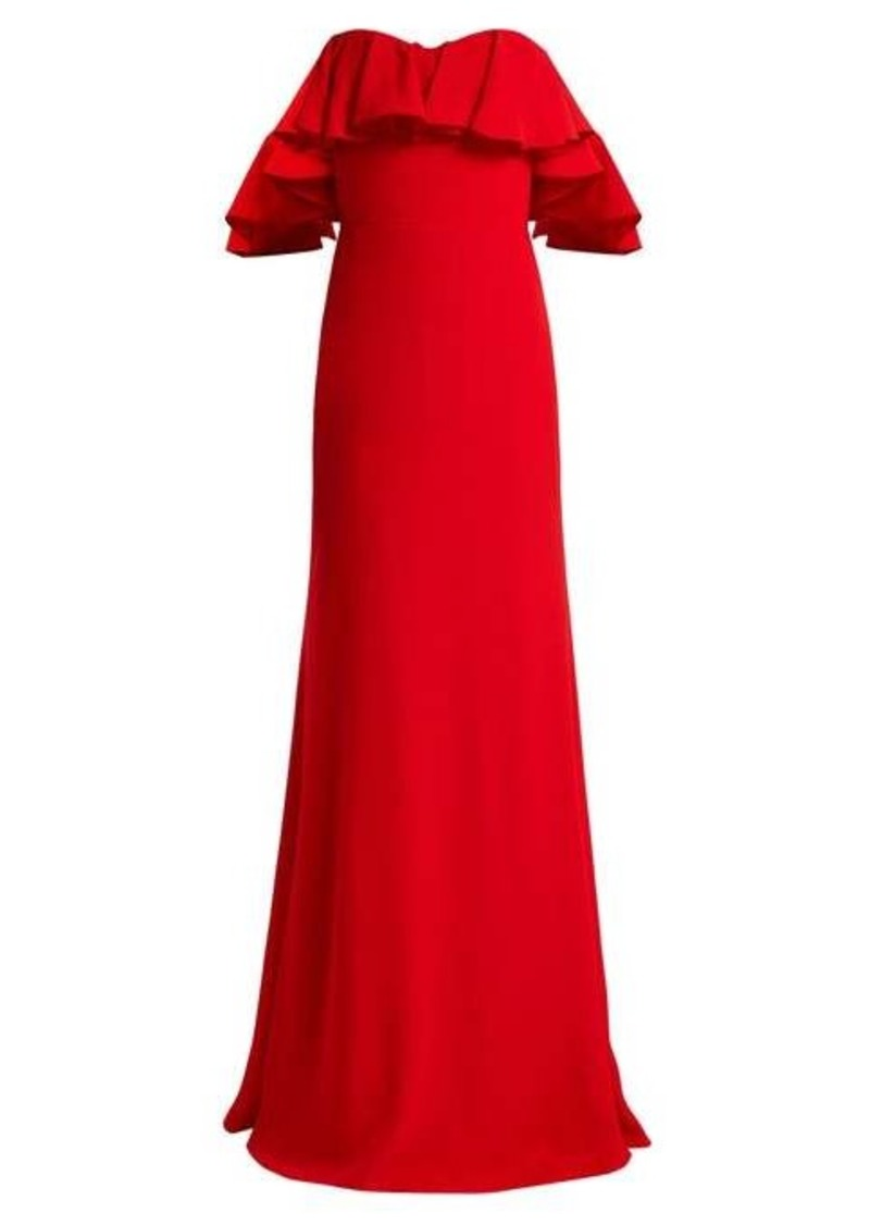 Alexander McQueen Ruffled off-the-shoulder crepe gown