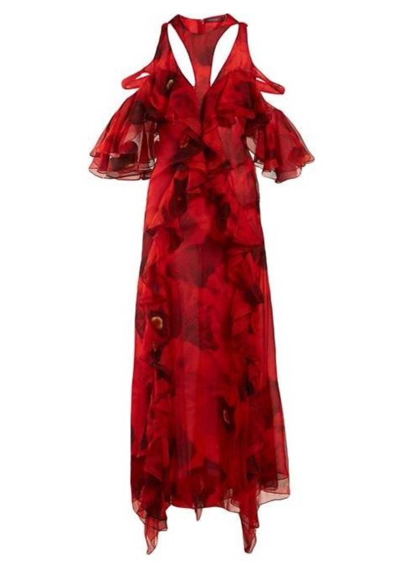 Alexander McQueen Ruffled poppy-print silk-chiffon gown