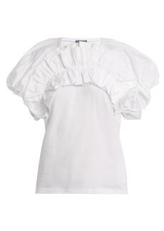 Alexander McQueen Ruffled puff-sleeved cotton top