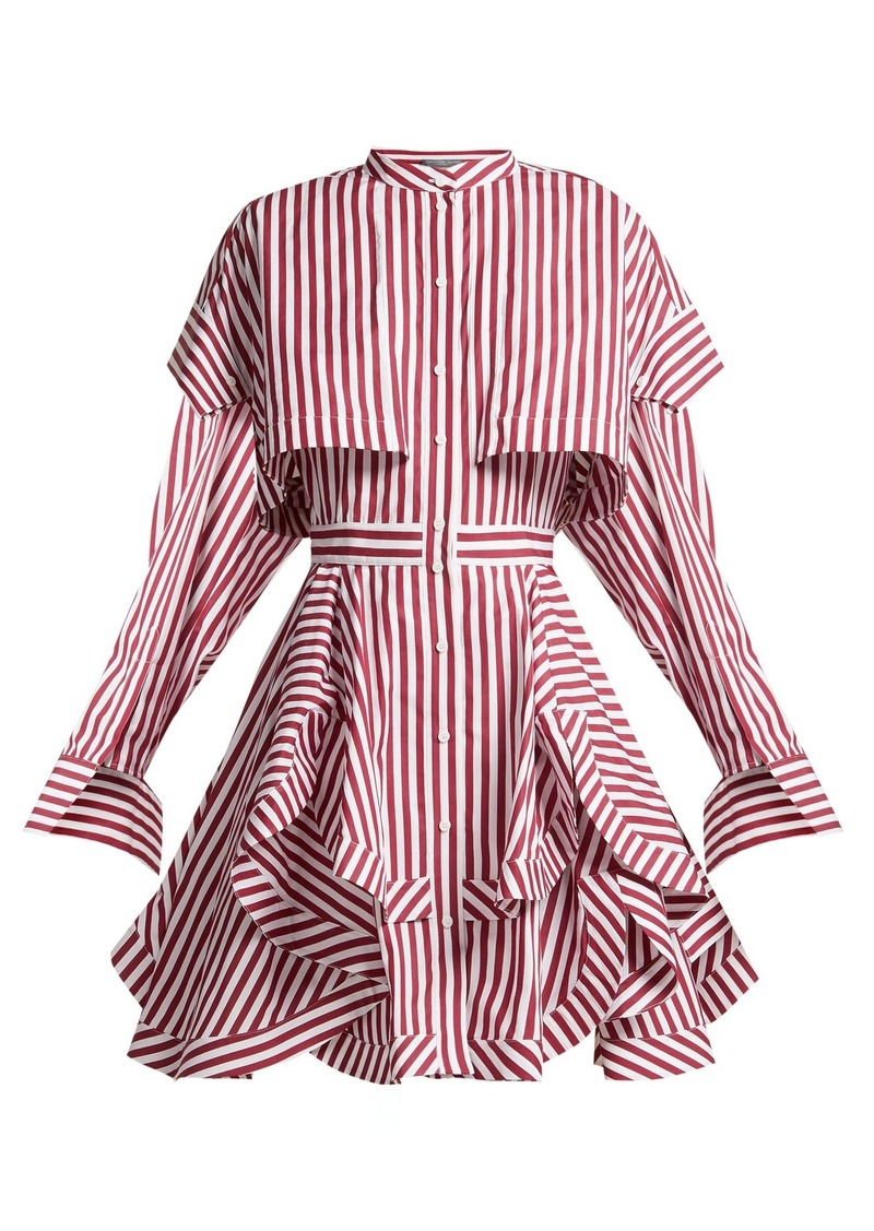 Alexander McQueen Ruffled striped cotton-poplin mini dress