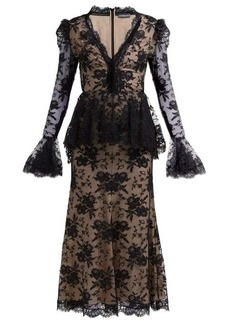 Alexander McQueen Sarabande-lace V-neck peplum dress