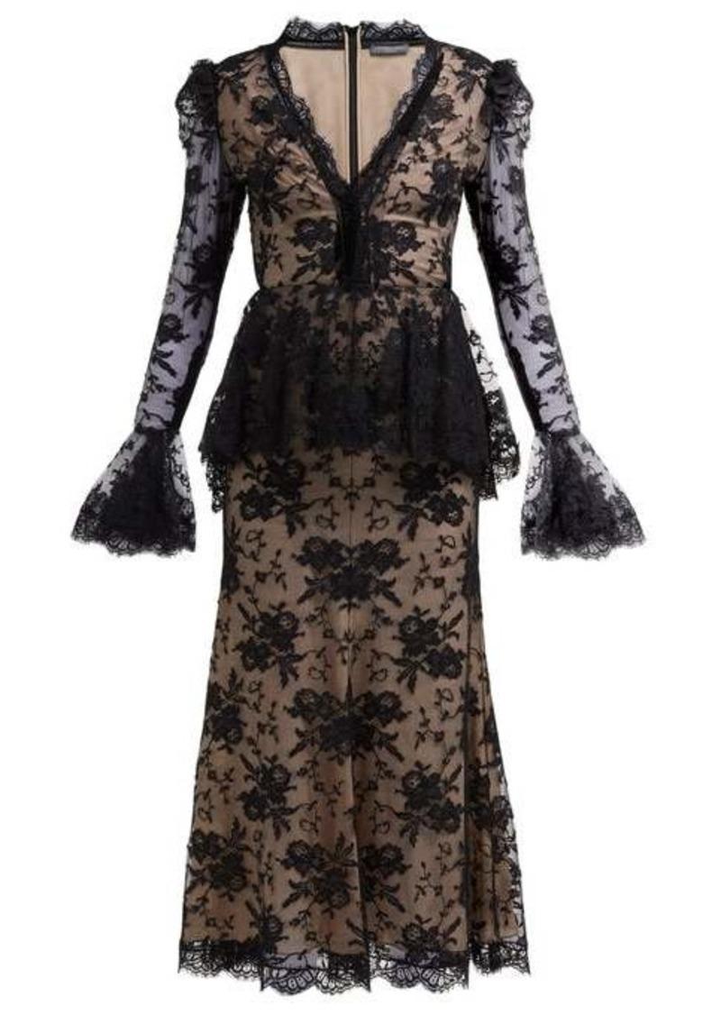 Alexander McQueen Sarabande-lace V-neck peplum dress