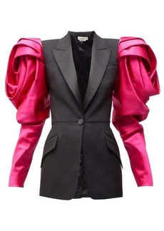 Alexander McQueen Satin-sleeve single-breasted wool blazer