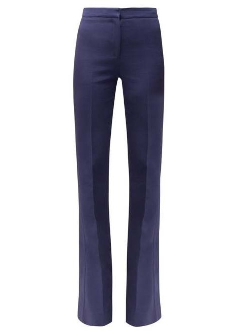Alexander McQueen Satin-trimmed flared wool trousers