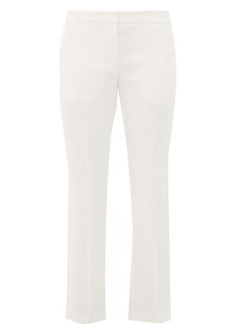 Alexander McQueen Satin-trimmed leaf-crepe trousers