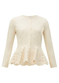 Alexander McQueen Scalloped peplum knitted cardigan