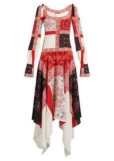 Alexander McQueen Scoop-neck cross-stitch print crepe de Chine dress