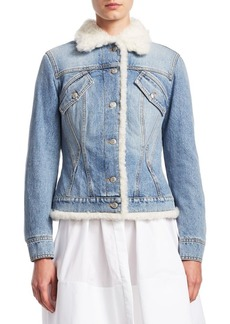 Alexander McQueen Shearling-Trim Faded Denim Jacket