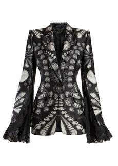 Alexander McQueen Shell-print lace-trimmed wool-blend twill blazer
