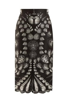 Alexander McQueen Shell-print lace-trimmed wool and silk-blend skirt