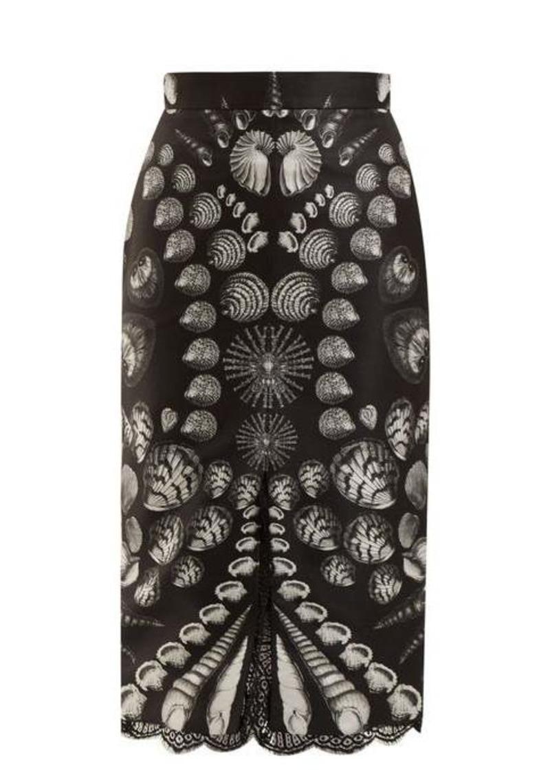 Alexander McQueen Shell-print lace-trimmed wool and silk-blend skirt