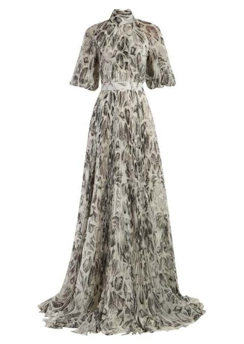 Alexander McQueen Shell-print pleated gown