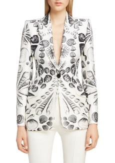 Alexander McQueen Shell Print Wool & Silk Blazer
