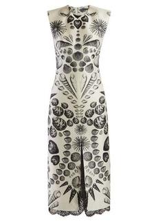 Alexander McQueen Shell-print wool-blend crepe dress