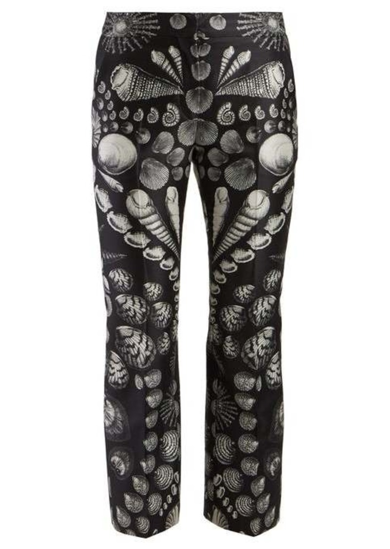 Alexander McQueen Shell-print wool-blend satin-twill trousers