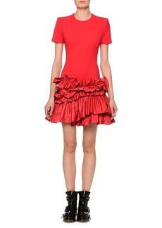 Alexander McQueen Short-Sleeve Drop-Waist Dress with Tiered Taffeta Peplum Hem