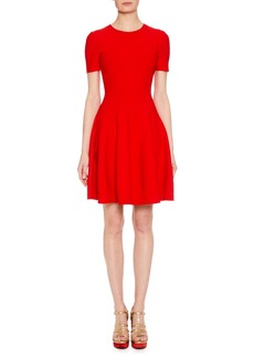 Alexander McQueen Short-Sleeve Fit-and-Flare Floral-Embossed Short Dress