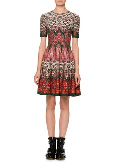 Alexander McQueen Short-Sleeve Floral Jacquard Dress
