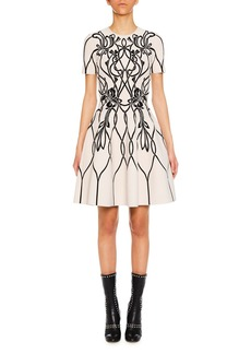 Alexander McQueen Short-Sleeve Graphic-Art Fit-and-Flare Cocktail Dress