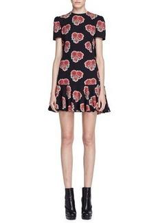 Alexander McQueen Short-Sleeve Poppy-Print Cape-Back Dress