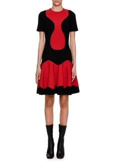 Alexander McQueen Short-Sleeve Two-Tone Knit Dress