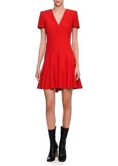 Alexander McQueen Short-Sleeve V-Neck Fit & Flare Dress