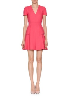 Alexander McQueen Short-Sleeve V-Neck Wool-Blend Mini Dress