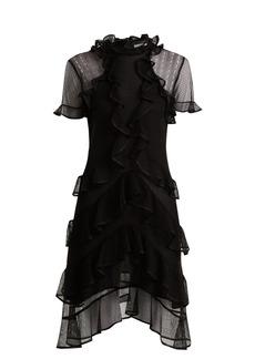 Alexander McQueen Short-sleeved lace-knit ruffle mini dress