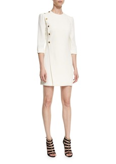 Alexander McQueen Side-Button 3/4-Sleeve Dress