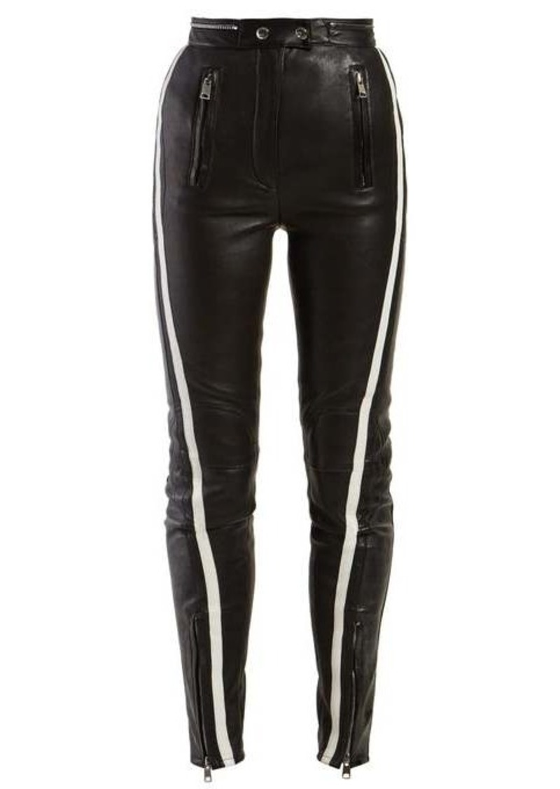 Alexander McQueen Side-stripe leather trousers