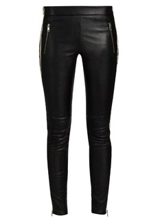 Alexander McQueen Side-striped leather trousers
