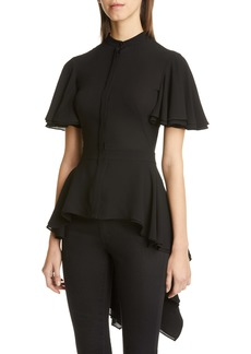 Alexander McQueen Silk High/Low Peplum Blouse
