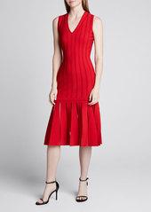 Alexander McQueen Silk-Knit Sleeveless Pleated Dress