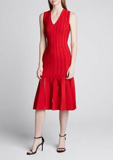 Alexander McQueen Silk-Knit Sleeveless Pleated Dress
