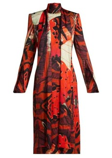 Alexander McQueen Silk-satin butterfly-print dress