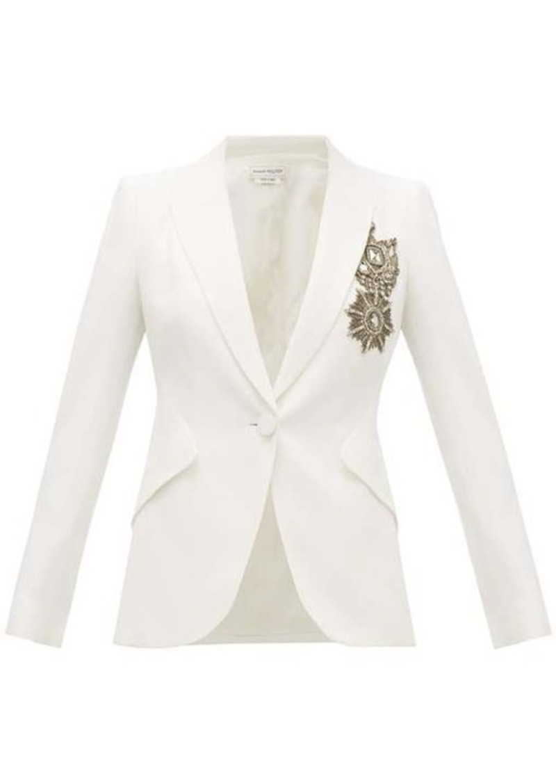 Alexander McQueen Single-breasted embroidered leaf-crepe jacket