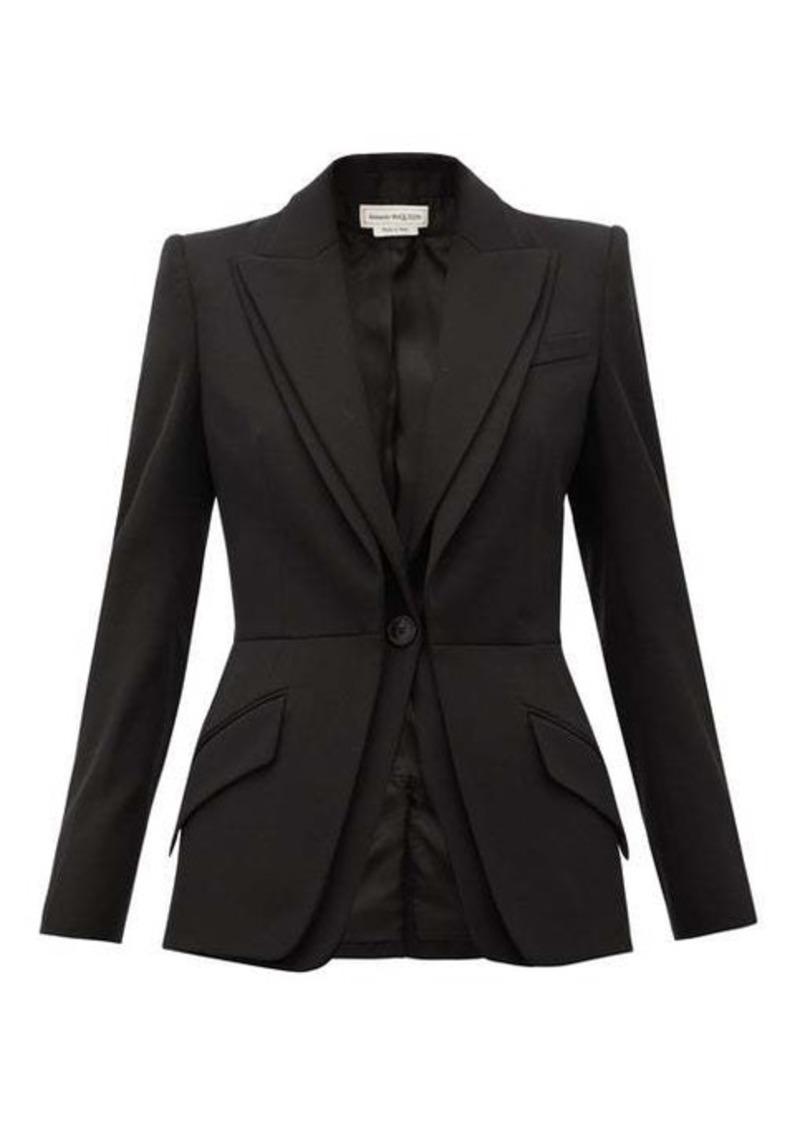 Alexander McQueen Single-breasted grain-de-poudre wool jacket