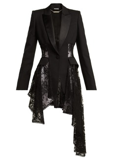 Alexander McQueen Single-breasted lace-panel wool-blend blazer