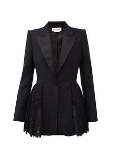 Alexander McQueen Single-breasted lace-peplum wool-blend blazer