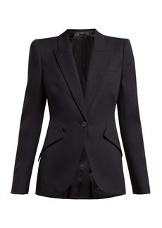 Alexander McQueen Single-breasted panelled grain de poudre blazer