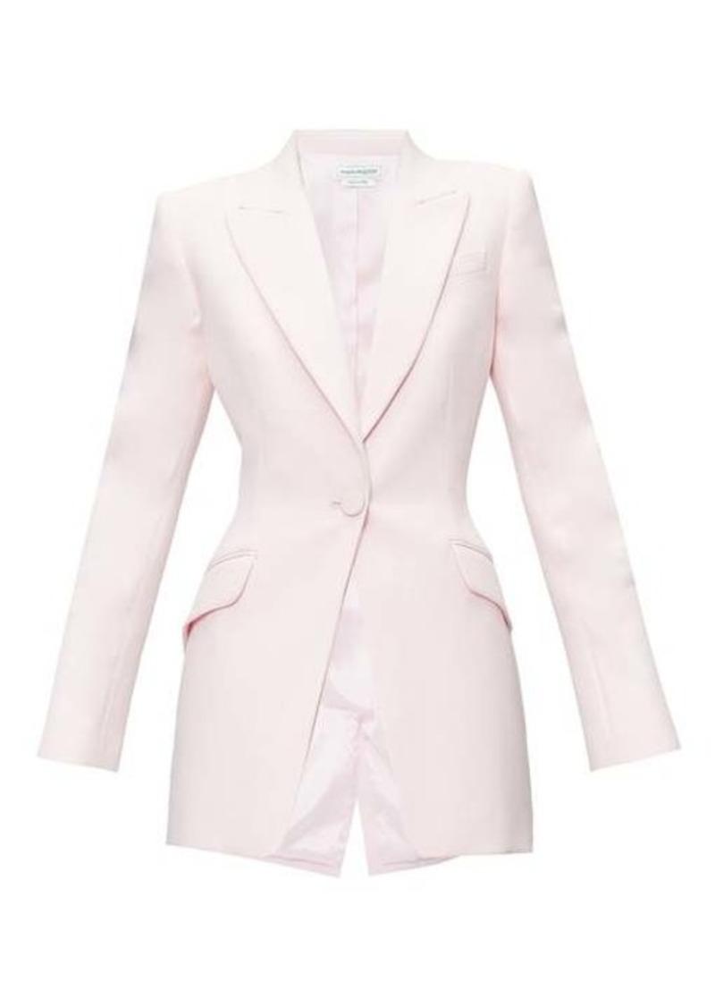 Alexander McQueen Single-breasted wool-blend leaf-crepe jacket